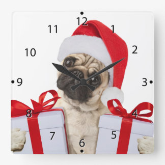 Pug gifts - dog claus - funny pugs - funny dogs square wall clock