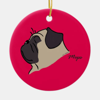 Pug head silhouette ceramic ornament