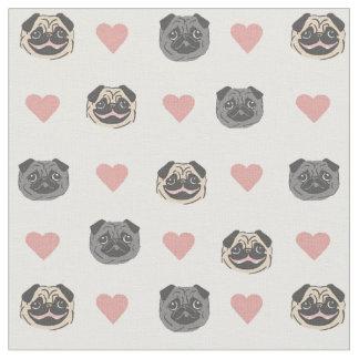 pug heart fabric