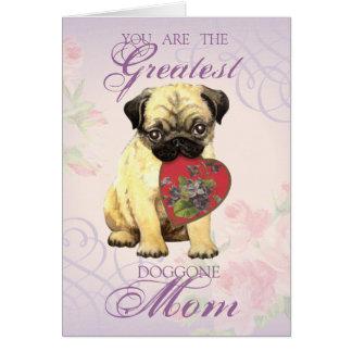 Pug Heart Mom Greeting Card