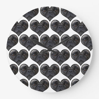 Pug Hearts Large Clock