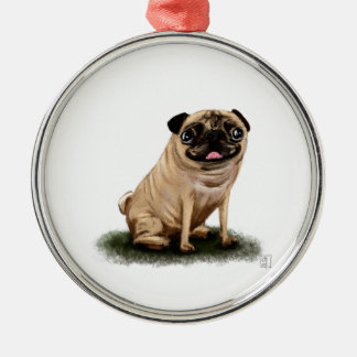 Pug Illustration Art Dog Silver-Colored Round Decoration