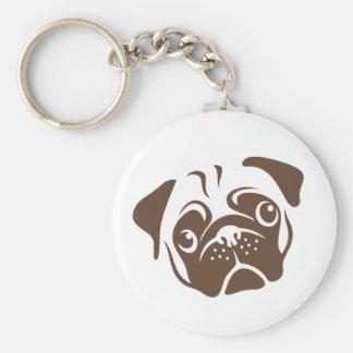 Pug Illustration Key Ring