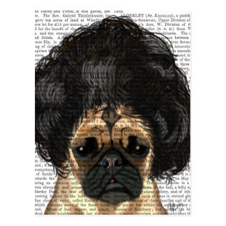 Pug In A Bad Wig Postcard