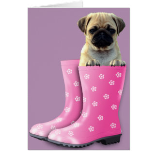 Pug In Boots Greeting Card