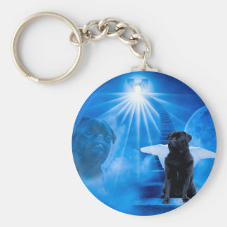 Pug in Heaven as Angel Sympathy Basic Round Button Key Ring