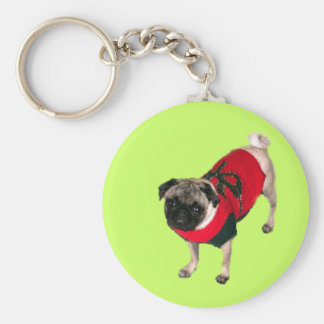 Pug in Holiday Sweater Keychains