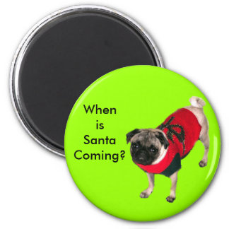 Pug in Holiday Sweater Fridge Magnet