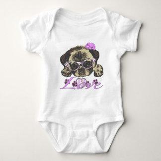 Pug in pink baby bodysuit