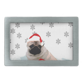 Pug in Snow with Gifts and Santa Hat Belt Buckle