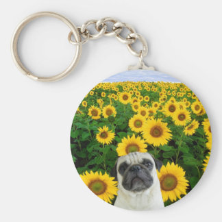 Pug in Sunflowers keychain
