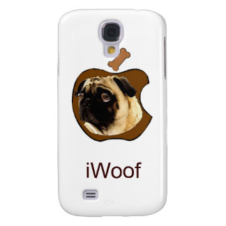 Pug iWoof - Funny iPhone Cases (white) Galaxy S4 Cases