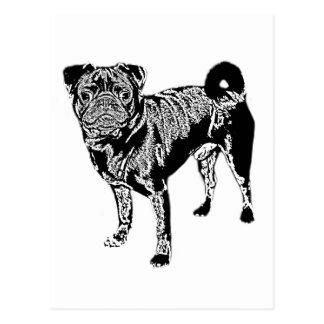 Pug Jack mono chrome Postcard