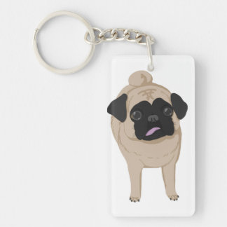 Pug Keychain Front and Butt