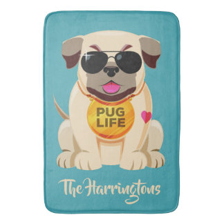 Pug Life custom name & color bath mats