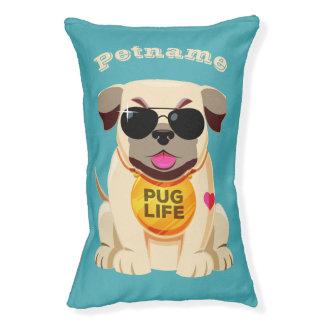 Pug Life custom name & color dog beds