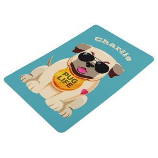 Pug Life custom name & color floor mat