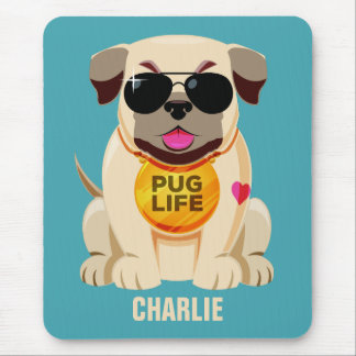Pug Life custom name & color mousepad