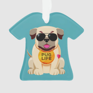 Pug Life custom text ornament