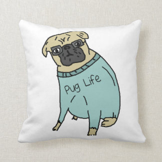 Pug Life - Funny Dog In A Sweater Throw Pillow