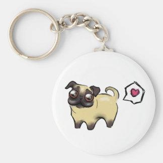 Pug Love Basic Round Button Key Ring