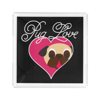 Pug Love Fawn Pug In Heart Acrylic Tray