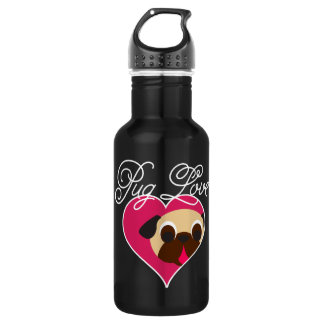 Pug Love Fawn Pug In Heart Water Bottle