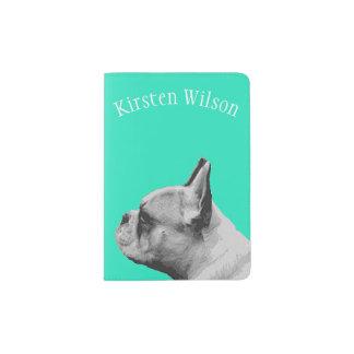 Pug Love   Personalized Aqua Passport Holder