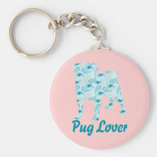 Pug Lover Teal Paisley Basic Round Button Key Ring