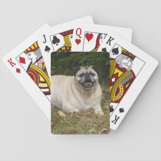 Pug Lying On Grass Poker Cards