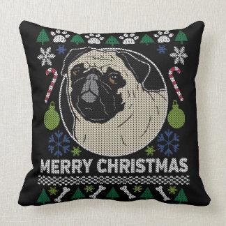 Pug Merry Christmas Ugly Sweater Cushion