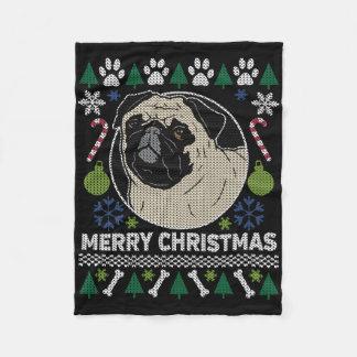 Pug Merry Christmas Ugly Sweater Fleece Blanket