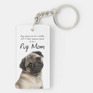 Pug Mom Key Ring Double-Sided Rectangular Acrylic Key Ring