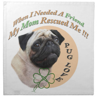 Pug Mom Rescued Me Gifts Napkin