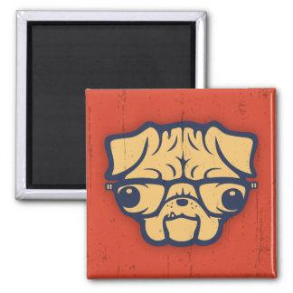 Pug Nerd Square Magnet