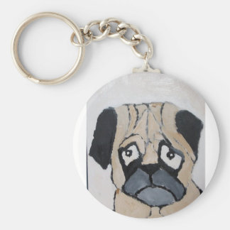 pug on  a key key ring