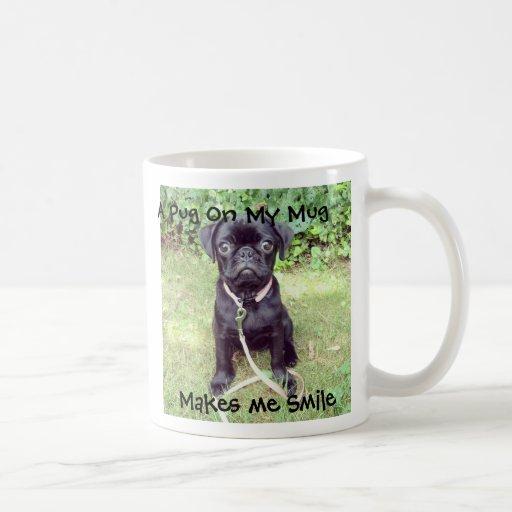 Pug on a Mug Coffee Cup Cute Black Puppy Pink Lead