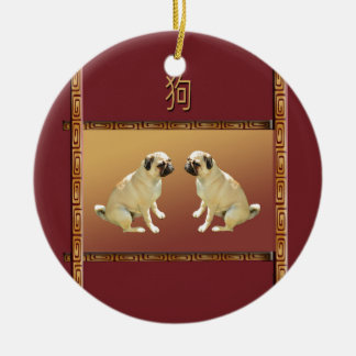Pug  on Asian Design Chinese New Year of the Dog Ceramic Ornament