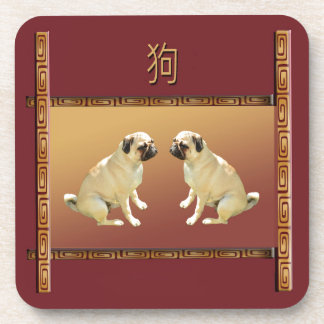 Pug  on Asian Design Chinese New Year of the Dog Coaster