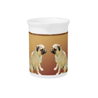 Pug  on Asian Design Chinese New Year of the Dog Pitcher