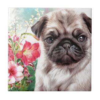 Pug Painting Ceramic Tile