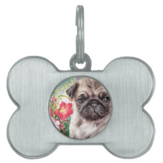 Pug Painting Pet Name Tag