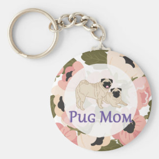 Pug Pair Dog Mom Pink Poppy Floral Basic Round Button Key Ring