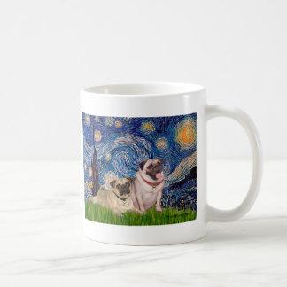 Pug Pair (fawn) - Starry Night Coffee Mug