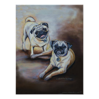 Pug Pair Poster