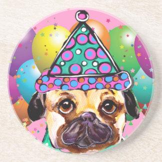 Pug Party Dog Beverage Coaster