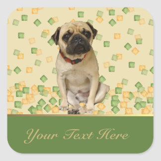 Pug Party in Hand Painted Earth Tones Square Sticker