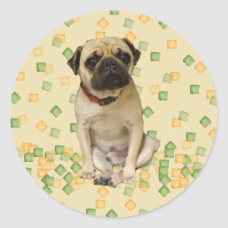 Pug Party in Hand Painted Earth Tones Round Sticker