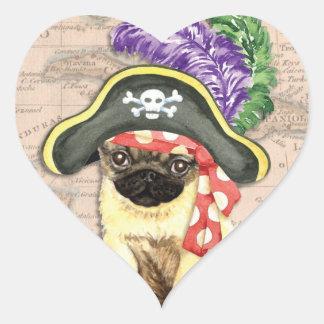 Pug Pirate Heart Sticker