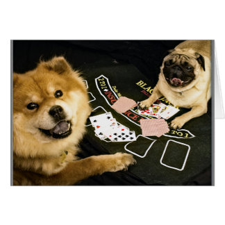 Pug Poker Greeting card